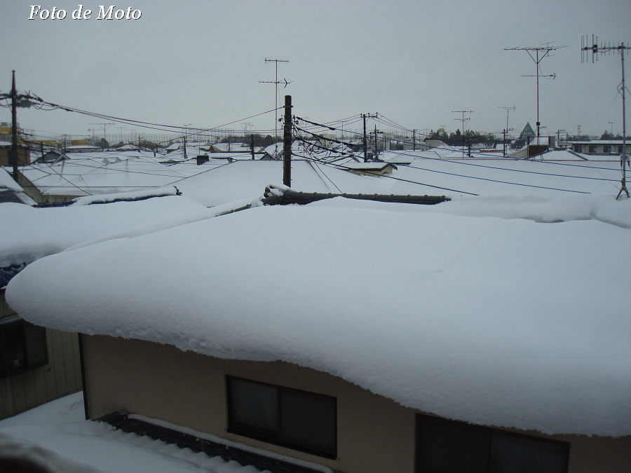 the roofs covered with snow